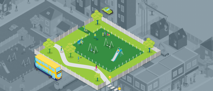 Visual of a playground in a neighborhood